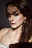 Beautiful sexy brunette woman evening make-up beauty portrait Stock Photos
