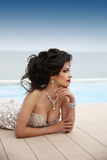 Beautiful sexy brunette woman model in elegant fashion dress wit Royalty Free Stock Photos