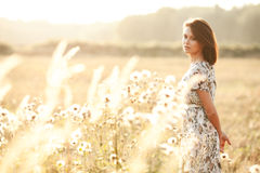 Beautiful sexy brunette woman outdoors on a sunset Stock Images