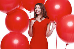 Beautiful sexy brunette woman skinny business style dress Stock Photography