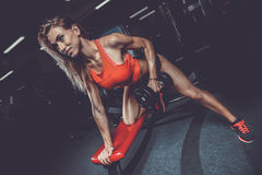 Beautiful sexy caucasian fitness girl training back in gym pumpi. Ng up body bodybuilding athlete on diet Stock Photos