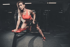 Beautiful caucasian fitness girl training back in gym pumpi royalty free stock images