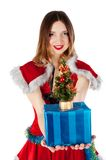 Beautiful and christmas woman with gift stock photo
