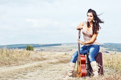 Beautiful sexy country guitar girl Stock Images
