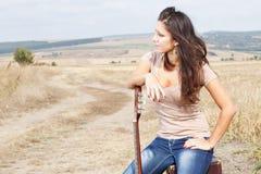 Beautiful sexy country guitar girl Stock Photo