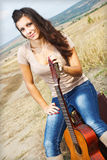 Beautiful sexy country guitar girl Royalty Free Stock Images