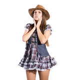Beautiful sexy country and western girl Royalty Free Stock Photo