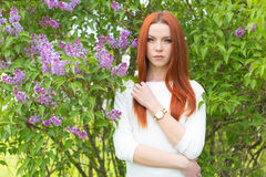 Beautiful sexy cute red-haired girl in a white dress standing near bushes with lilac Royalty Free Stock Image
