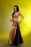 Beautiful dancer woman in bellydance costume royalty free stock photography