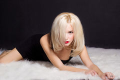Beautiful sexy elegant striking blonde woman with bright makeup red lips in a black dress lies on the white fur in Studio Stock Images