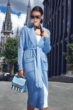 Beautiful fashion stylish female model long dark hair Royalty Free Stock Images