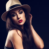 Beautiful sexy female model holding the hand cowboy summer hat a Stock Images