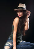 Beautiful sexy female model with holding the hand cowboy summer Royalty Free Stock Image