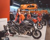 Beautiful female models advertise new bikes Royalty Free Stock Photo