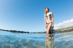 Beautiful Female Snorkeler Royalty Free Stock Images