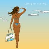 Beautiful sexy girl in bikini with a beach bag in hand. Beautiful sexy,tanned  girl in bikini with a beach bag in hand, vector illustration Stock Photo