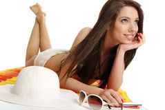 Beautiful girl in bikini laying Royalty Free Stock Photo