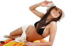 Beautiful girl in bikini laying Stock Photo