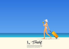 Beautiful sexy girl in bikini walking and holding her cabin case. And coconut water on the summer beach. Beach holiday poster. Vector Illustration Stock Photo