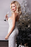 Beautiful sexy girl with blond hair wears luxurious dress,holding glass of champagne Royalty Free Stock Images