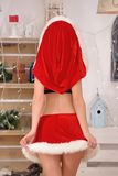 Beautiful sexy girl with curly hair in Santa Claus clothes back view. Beautiful sexy girl with curly hair in Santa Claus clothes Stock Photos