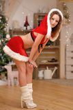 Beautiful sexy girl with curly hair in Santa Claus clothes Royalty Free Stock Images