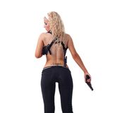 Beautiful sexy girl with gun. Stock Photography