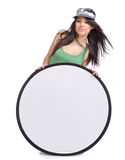 Beautiful girl holding emply white board Royalty Free Stock Photo