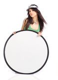 Beautiful girl holding emply white board Stock Photo
