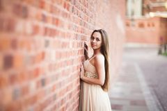 Beautiful sexy girl with long hair and dress perfect shape tanned body possing near wall Stock Photos