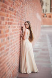 Beautiful sexy girl with long hair and dress perfect shape tanned body possing near wall Royalty Free Stock Images