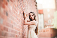 Beautiful sexy girl with long hair and dress perfect shape tanned body possing near wall Stock Images