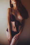 Beautiful sexy girl with long hair in lingerie Stock Images