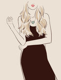 Beautiful girl. With long hair posing in a black dress vector illustration eps 10 stock illustration