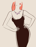 Beautiful sexy girl. With long hair posing in a black dress vector illustration eps 10 Stock Photos