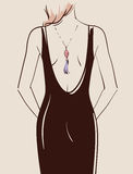 Beautiful sexy girl. With long hair posing in a black dress vector illustration eps 10 Stock Image