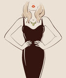 Beautiful sexy girl. With long hair posing in a black dress vector illustration eps 10 Royalty Free Stock Photo