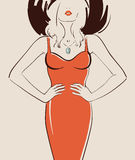 Beautiful sexy girl. With long hair posing in a red dress vector illustration eps 10 Stock Photo