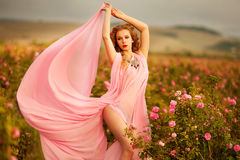 Beautiful girl in a pink dress standing in the garden roses royalty free stock photography