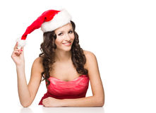 Beautiful sexy girl in santa claus clothes Royalty Free Stock Image