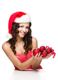 Beautiful girl in santa claus clothes Royalty Free Stock Photo
