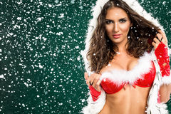 Beautiful sexy girl in Santa clothes Royalty Free Stock Images