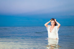 Beautiful sexy girl on the sea Royalty Free Stock Images