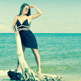 Beautiful sexy girl on seashore Royalty Free Stock Images