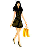 Beautiful sexy girl with shopping bags. Vector illustration of a beautiful girl wearing a short dress and carrying shopping bags Royalty Free Stock Photography