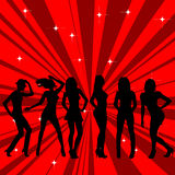 Beautiful and sexy girl silhouettes dancing Royalty Free Stock Photos