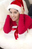 A beautiful girl is smiling holds a gift box Stock Photo