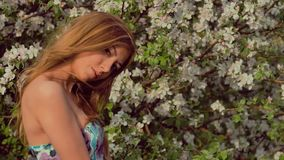 Beautiful sexy girl standing next to a flowering tree apple tree spring love stock footage