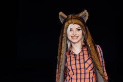 Beautiful girl wearing brown fur hat Royalty Free Stock Photography