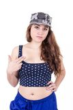 Beautiful sexy girl wearing military cap and crop Royalty Free Stock Photos